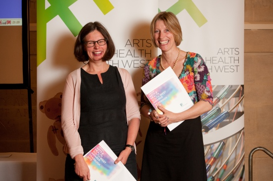Rebecca Seymour (right) with Jane Willis (left) joint winners of the Arts & Health South West Individual Award 2013