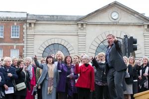 Howard Moody leads the Cheese Cross Choir as part of Ageas Salisbury International Arts Festival 22 May 2015. Photo: Adrian Harris